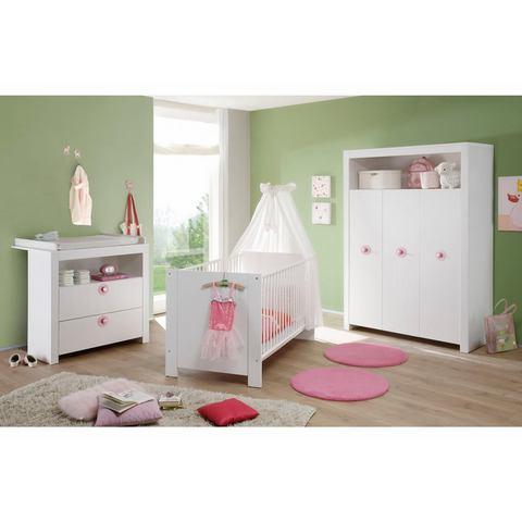 Complete babykamer Trend babyledikantje+babycommode + garderobekast, (3-dlg.), wit