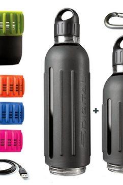 sdigital drinkflessenset met 360° geluid, »spritz - marathon kit« grijs