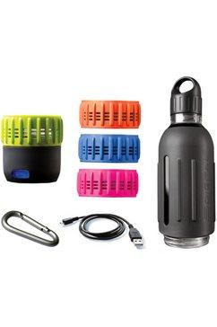 sdigital drinkfles met 360° geluid, »spritz - workout kit« grijs