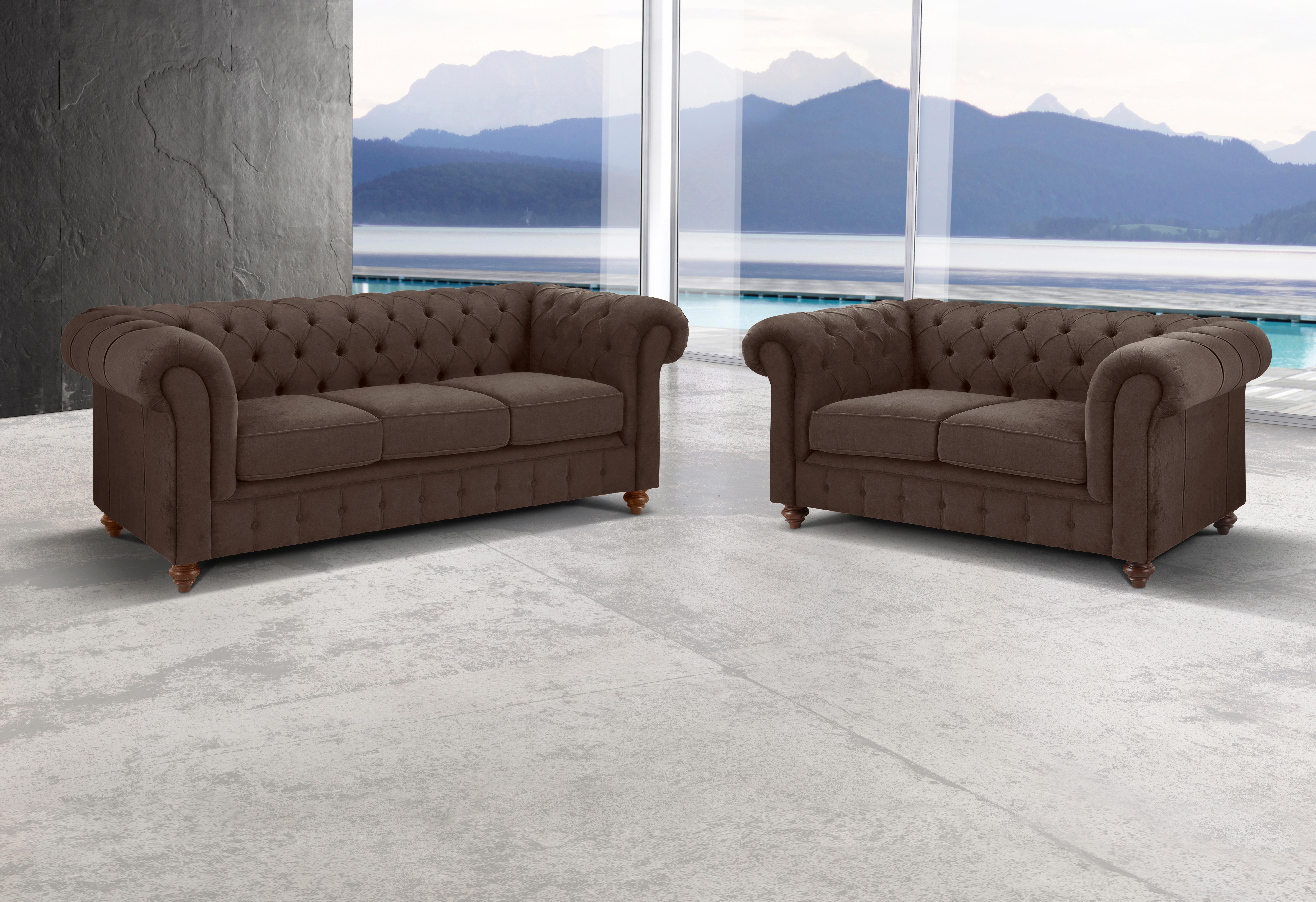 Premium Collection By Home Affaire Set »Chesterfield«, 3-zitsbank en 2-zitsbank, Premium collection - verschillende betaalmethodes