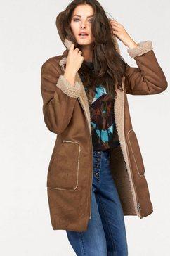 aniston casual korte jas met een capuchon bruin