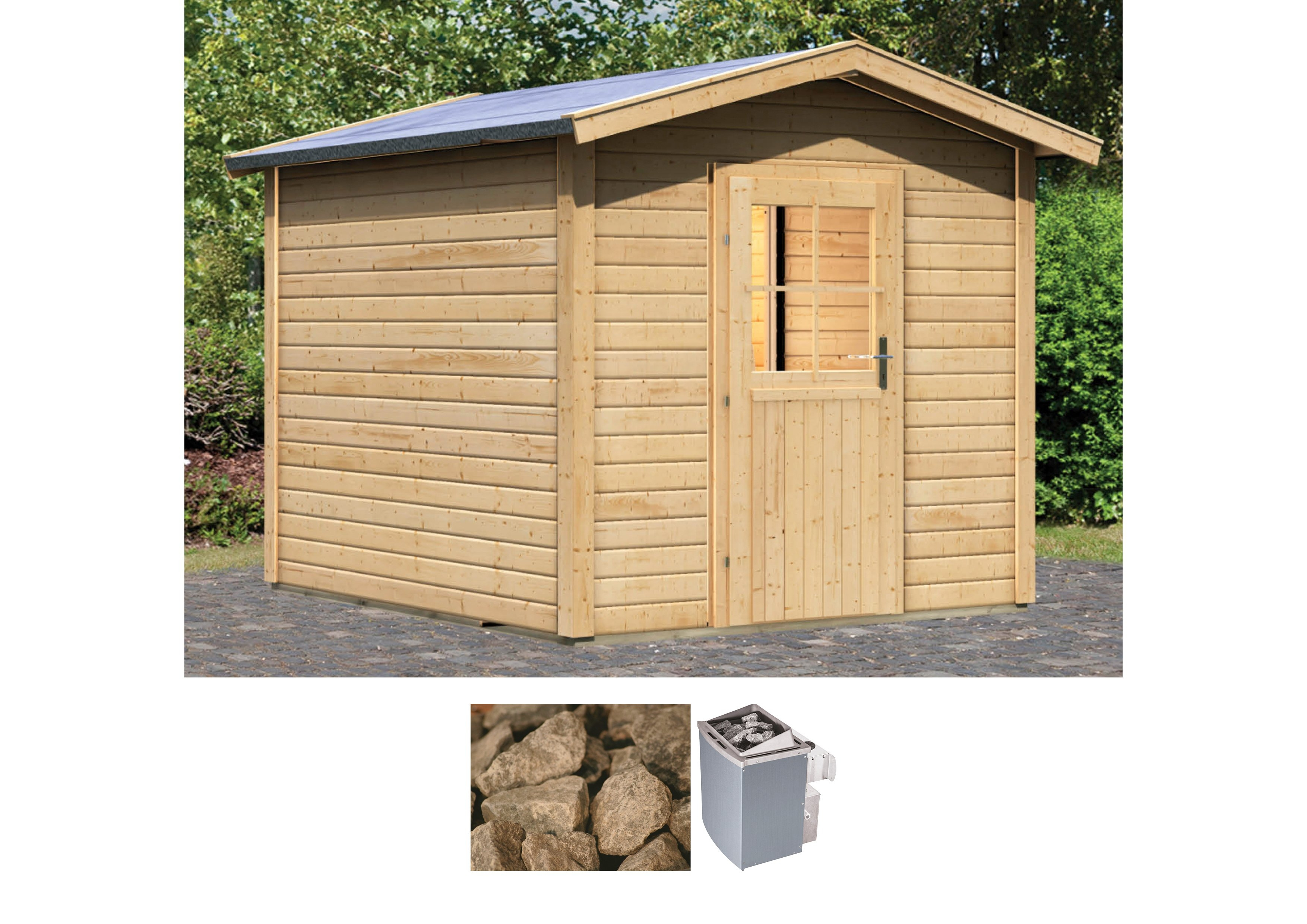 Kachel Voor Garage : Karibu saunahut 231x273x235 cm 9 kw kachel met interne bediening