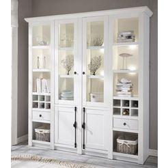 home affaire vitrinekast california decoratieve randen en luxueuze kroonlijsten (4 stuks) wit