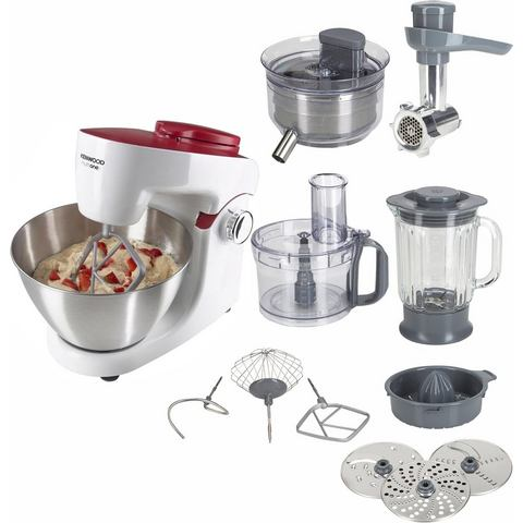 Kenwood Keukenmachine MultiOne KHH326WR 1000 Watt, wit / rood, incl. extra acces