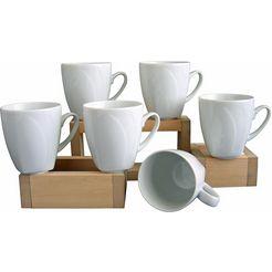 6 koffiebekers, »celebration«, in wit beige