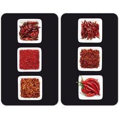 wenko kookplaatdeksel chili speciale antislipvoetjes (set, 2-delig) rood
