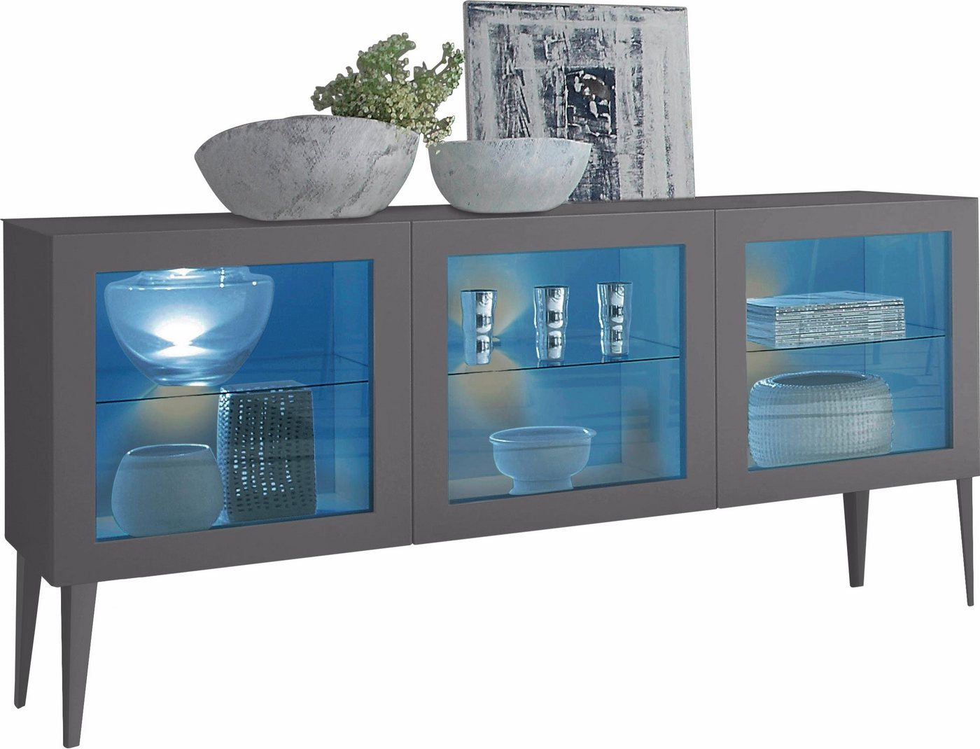 Dressoir met glasinzet Zela, 3-deurs, met poten, breedte 184 cm