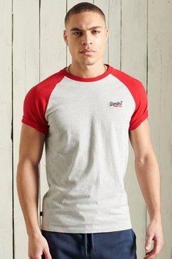 superdry shirt met ronde hals baseball tee grijs