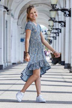 arizona jurk, voor kort en achter lang met volant onderlangs