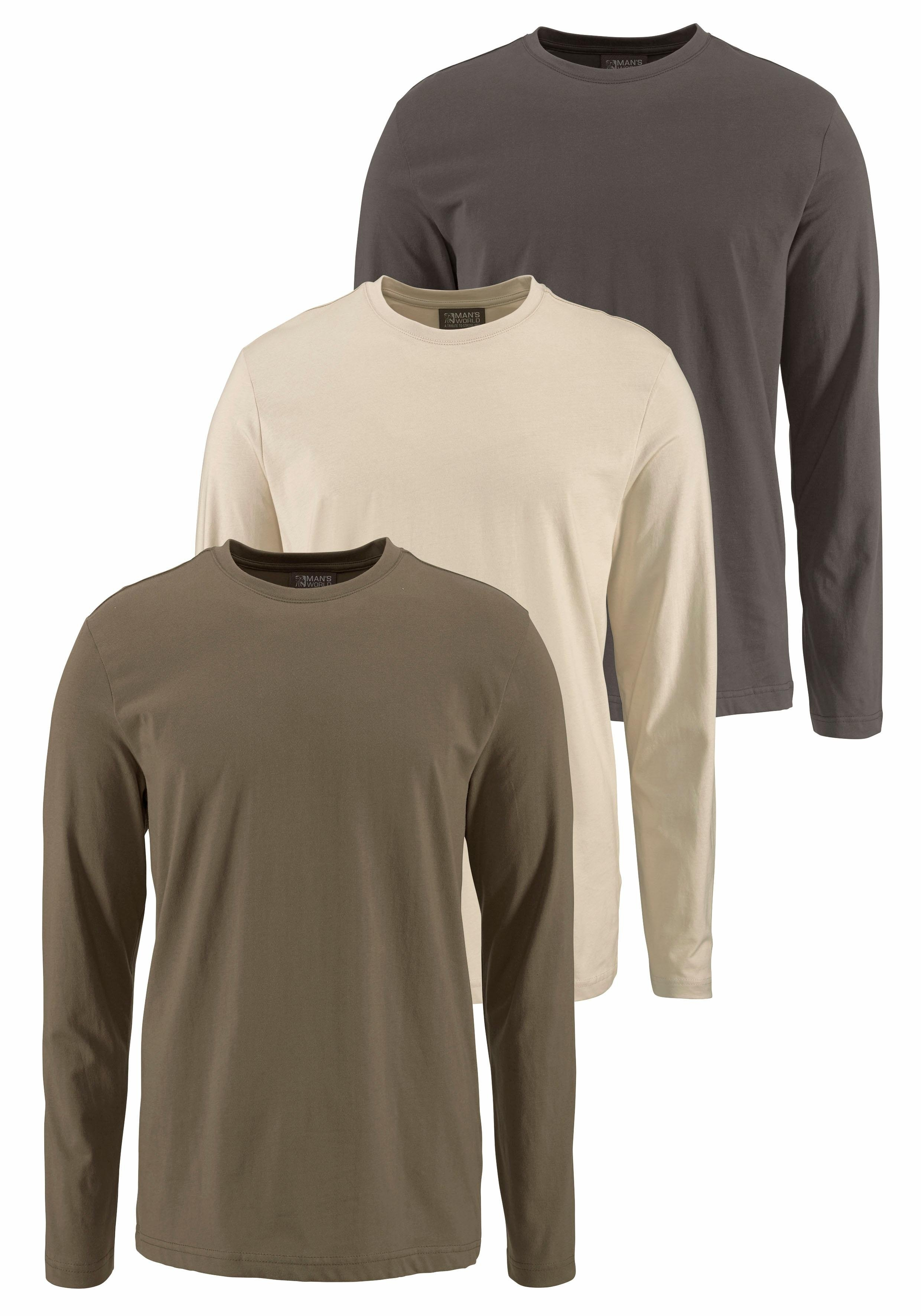 Man's World Grey Connection Shirt met lange mouwen 2+1 gratis nu online bestellen
