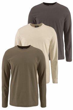 man's world shirt met lange mouwen van puur katoen (set, 3-delig, set van 3) multicolor