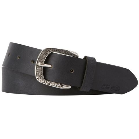 NU 20% KORTING: TOM TAILOR riem »leather belt with patterned buckle«