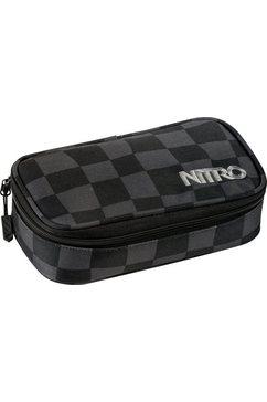 nitro schrijfetui, »pencil case xl black checker« zwart