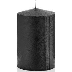 wiedemann kaars in chique leer-look, set van 2, hoogte 15 cm zwart