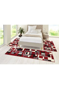 hanse home set slaapkamerkleedjes retro laagpolig, gekoppeld rood