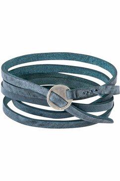 j.jayz leren armband in wikkel-look, met trendy metalen gesp (1-delig) blauw