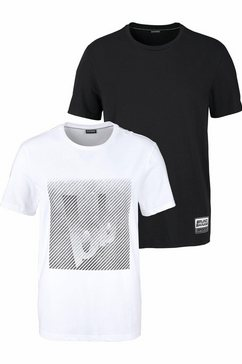 bruno banani t-shirt in set van 2 zwart