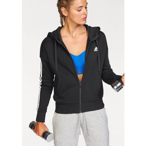 NU 15% KORTING: ADIDAS PERFORMANCE capuchonsweatvest »ESSENTIALS 3 STRIPES FULLZIP HOODIE«