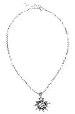 lusana folklore-ketting met edelweiss-hanger, voor dames zilver
