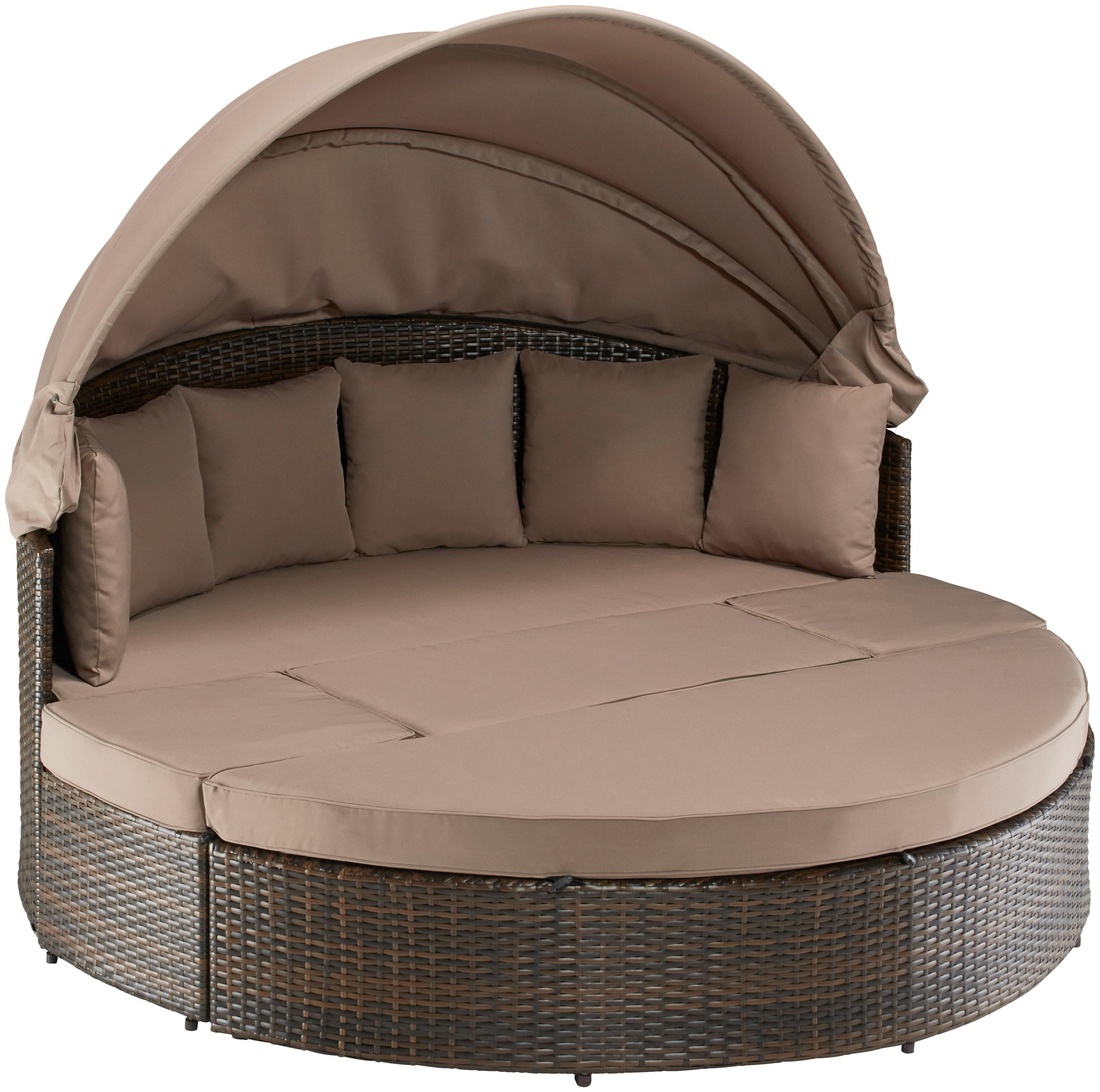 Loungebed Tuin Rond.Loungebed Multifunctioneel Bed Riva Poly Rotan