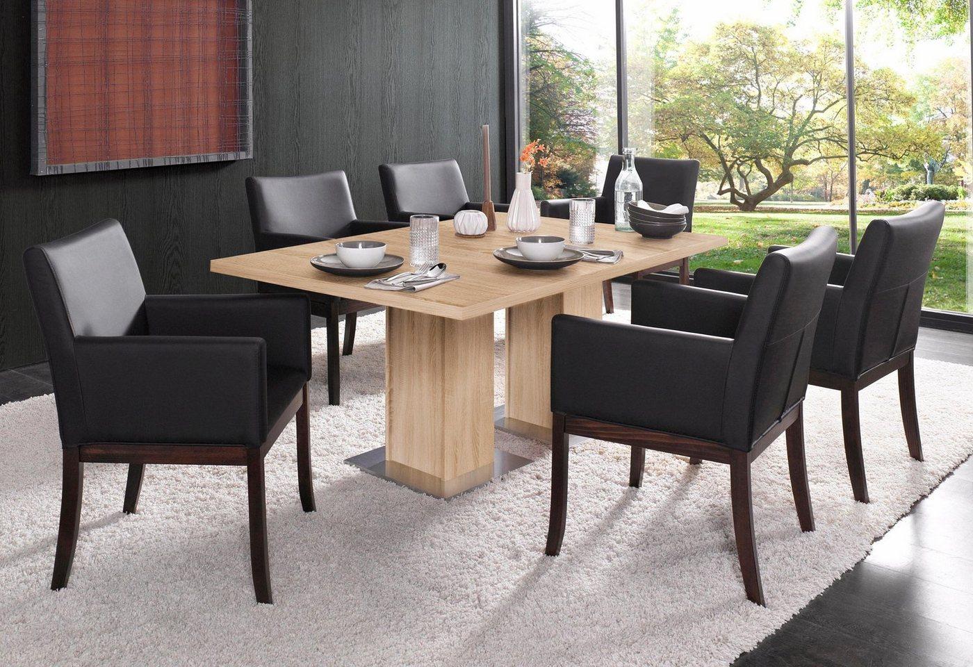 Eettafel op zuil, breedte 160/190 cm, met of zonder uittrekfunctie