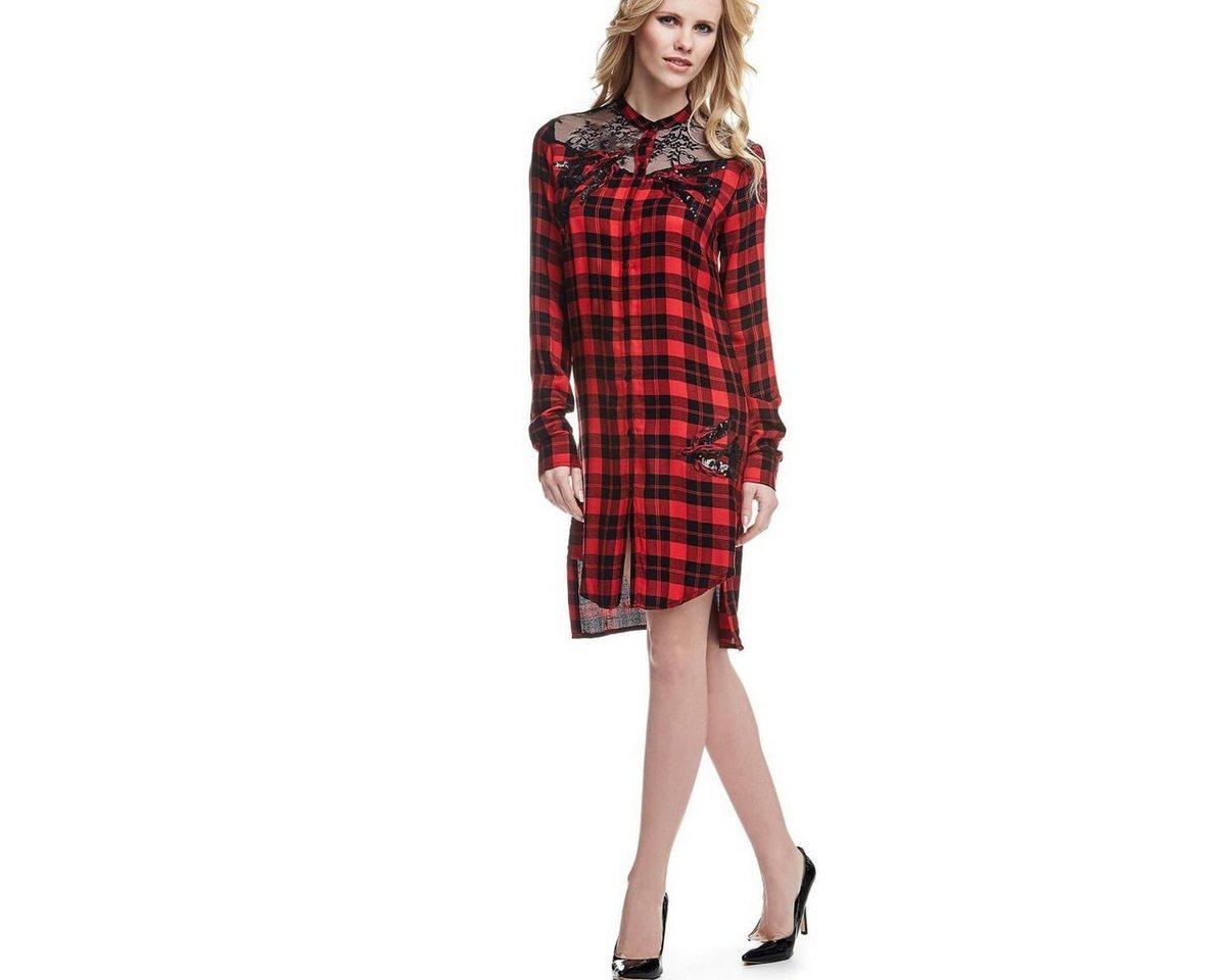 Guess geruite jurk met overhemdkraag rood