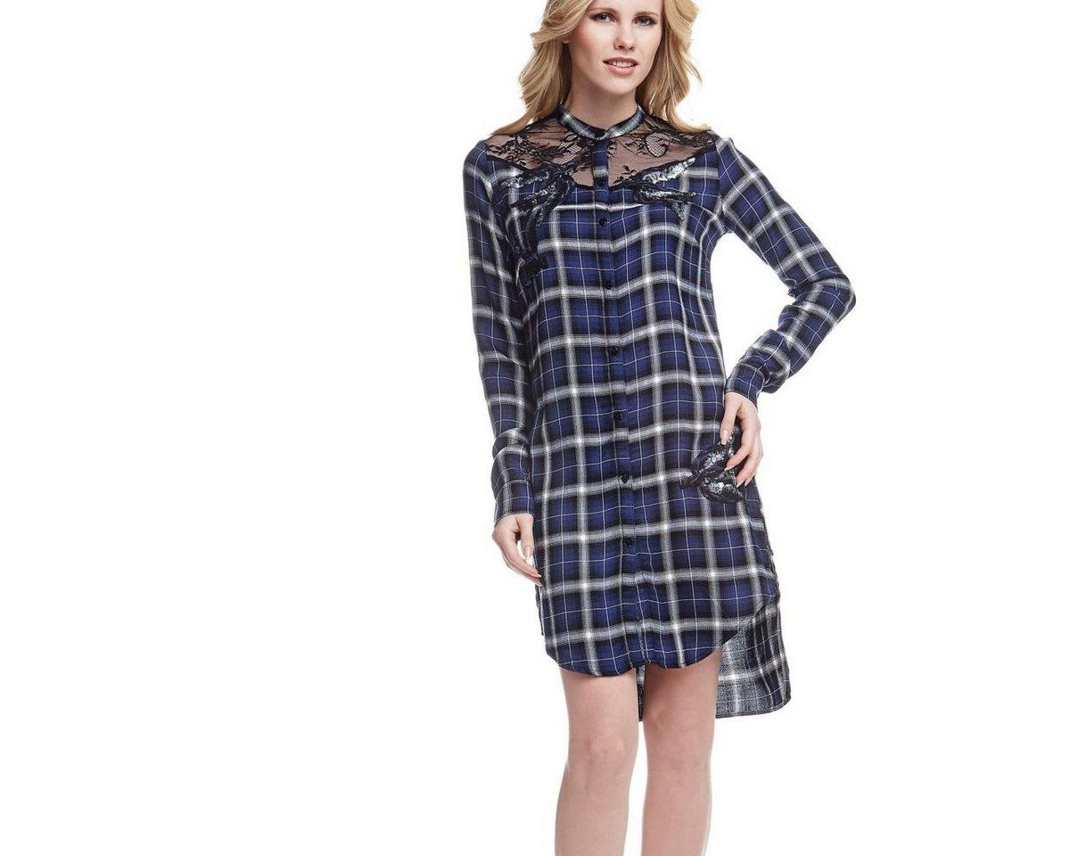 Guess geruite jurk met overhemdkraag blauw
