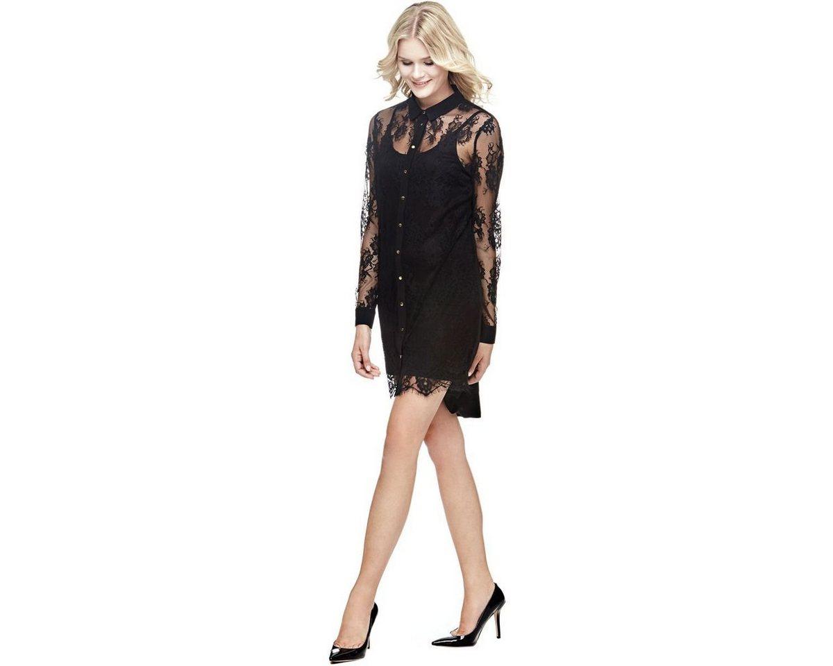 Guess jurk met overhemdkraag en kant zwart