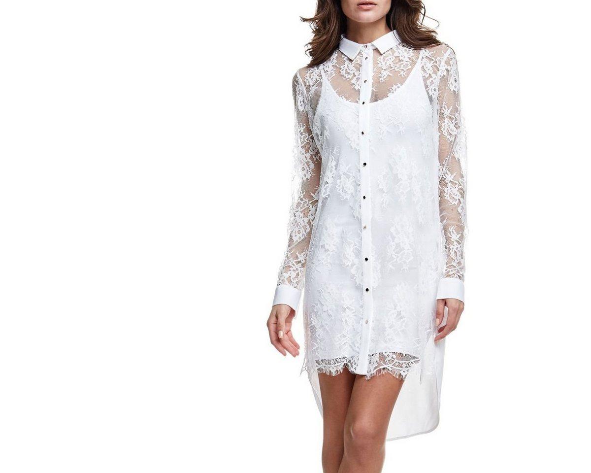 Guess jurk met overhemdkraag en kant wit