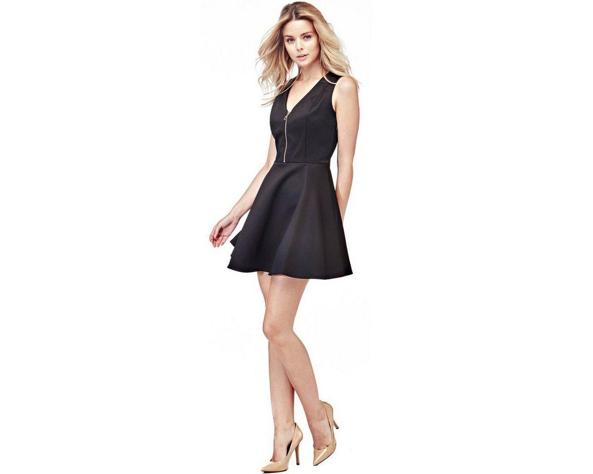 Guess jurk met cirkelrok en ritssluiting zwart