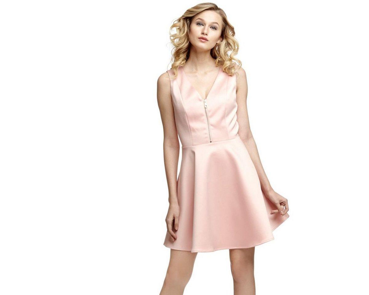 Guess jurk met cirkelrok en ritssluiting roze