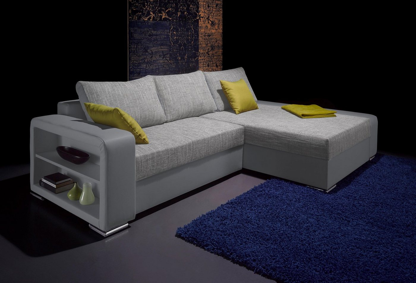 Hoekbank XL met armleuning met vakken eronder, naar keuze als slaapbank met bedkist