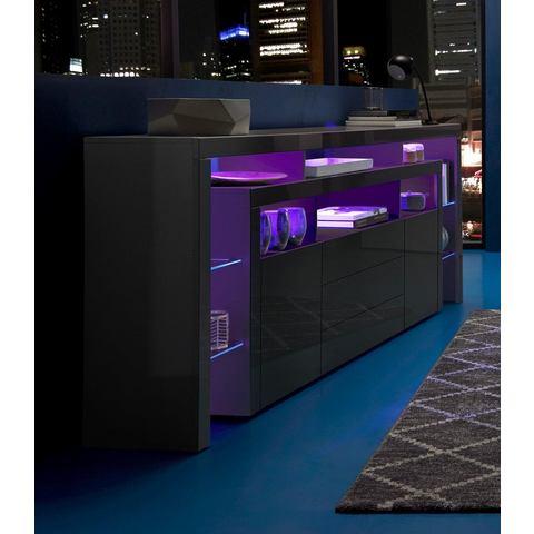 Sideboard breedte 220 cm hoogglans-zwart  dressoir 249