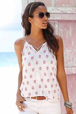 s.oliver red label beachwear strandtop met all-over print wit