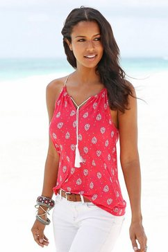 s.oliver red label beachwear top met spaghettibandjes met all-over print rood