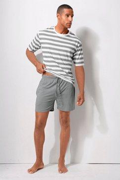 h.i.s shortama met gestreept shirt grijs