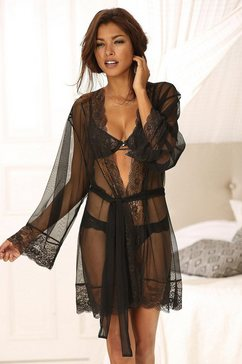 lascana kimono met chique kant zwart