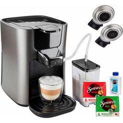 senseo koffiepadautomaat hd6574-50 latte duo, inclusief gratis toebehoren ter waarde van € 14,- zilver