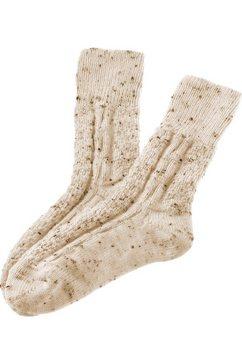 lusana folklore-sokken voor kinderen met breimotief beige