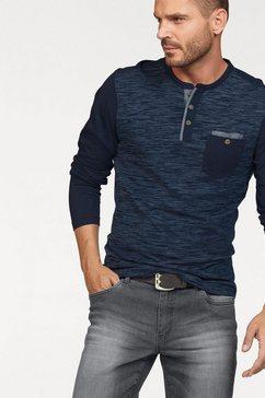arizona shirt met lange mouwen in een gemêleerde look en met luxueuze details blauw