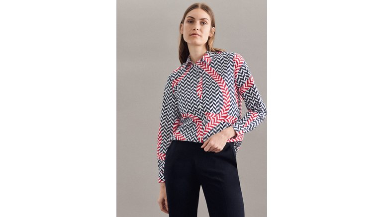 seidensticker overhemdblouse Zwarte roos Lange mouwen kraag print