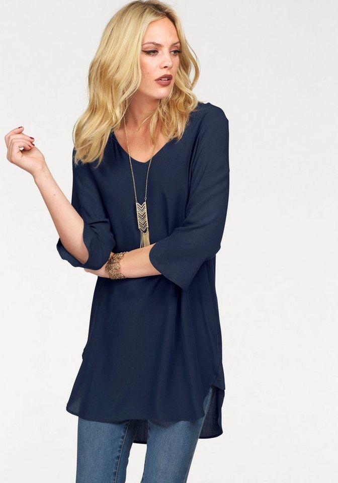 VERO MODA lange blouse BOCA blauw