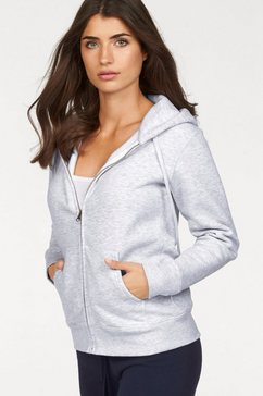 fruit of the loom capuchonsweatshirt »lady-fit premium hooded sweat jacket« grijs