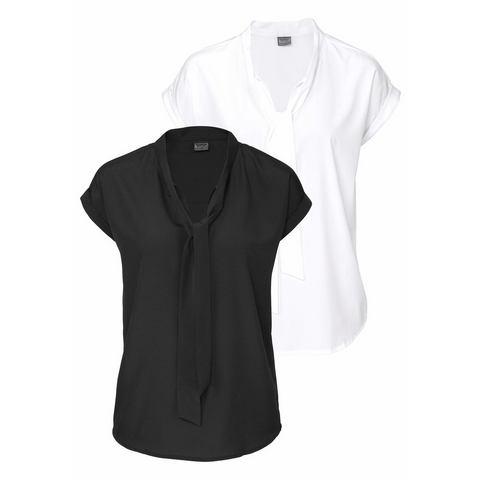 NU 15% KORTING: BRUNO BANANI blouse met kraagstrik (2-dlg.)