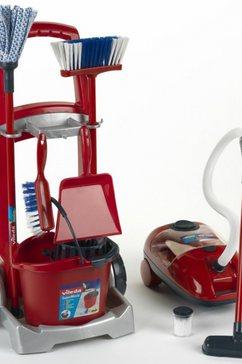 klein kinder-schoonmaakkar vileda schoonmaaktrolley met vileda stofzuiger met speelgoedstofzuiger, made in germany rood