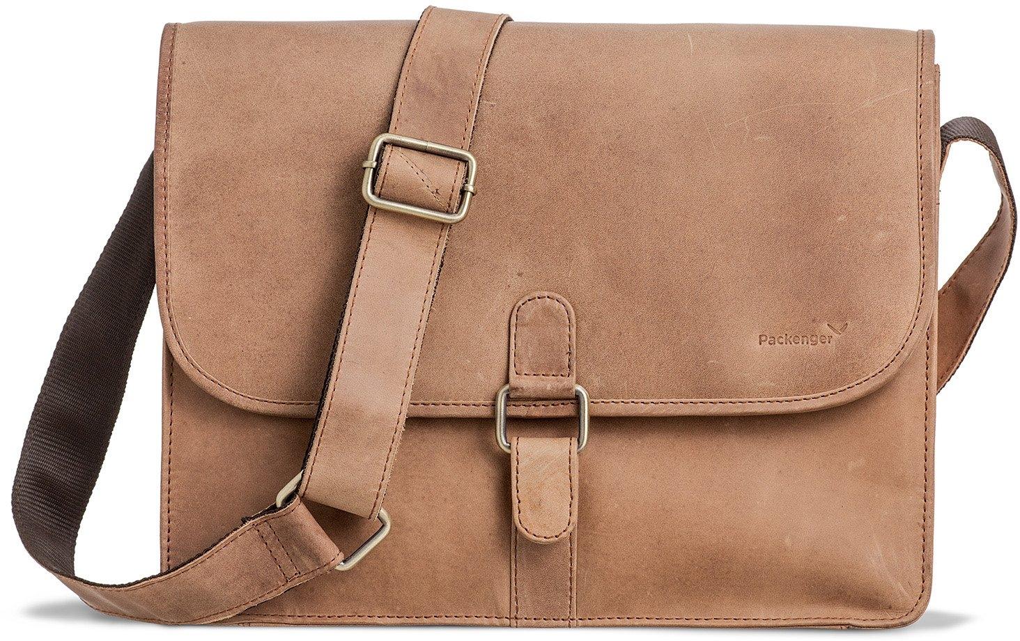 Packenger schoudertas met 14-inch-laptopvak, »Aslang, lichtbruin« - verschillende betaalmethodes