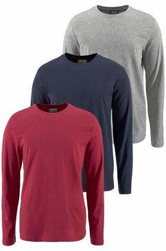 man's world shirt met lange mouwen van puur katoen (set, 3-delig, set van 3) blauw