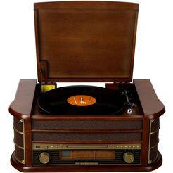 denverradio »retro music-center met platenspeler mcr-50« bruin