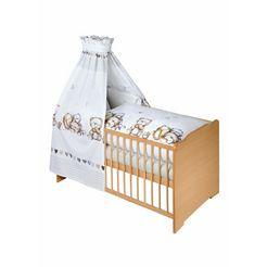zoellner compleet bed naturel, knuffelbeer inclusief ledikantje, matras, lattenbodem, hemelstang met hemel, hoofdbeschermer en overtrekset; made in europe (7 delig) beige