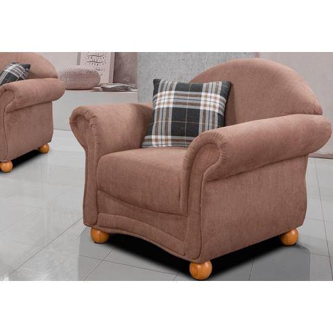 HOME AFFAIRE fauteuil Florenz, in retrostijl met houten poten